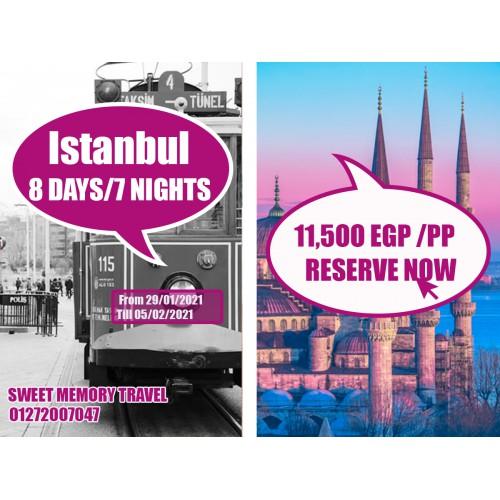 Istanbul,Turkey 8Days /7 Nights from 29/01/2021 till 05/02/2021(Registration no.2071)